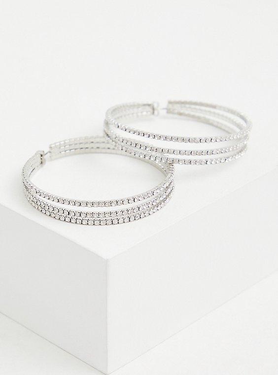 Plus Size Silver-Tone Triple Pave Hoop Earrings, , hi-res