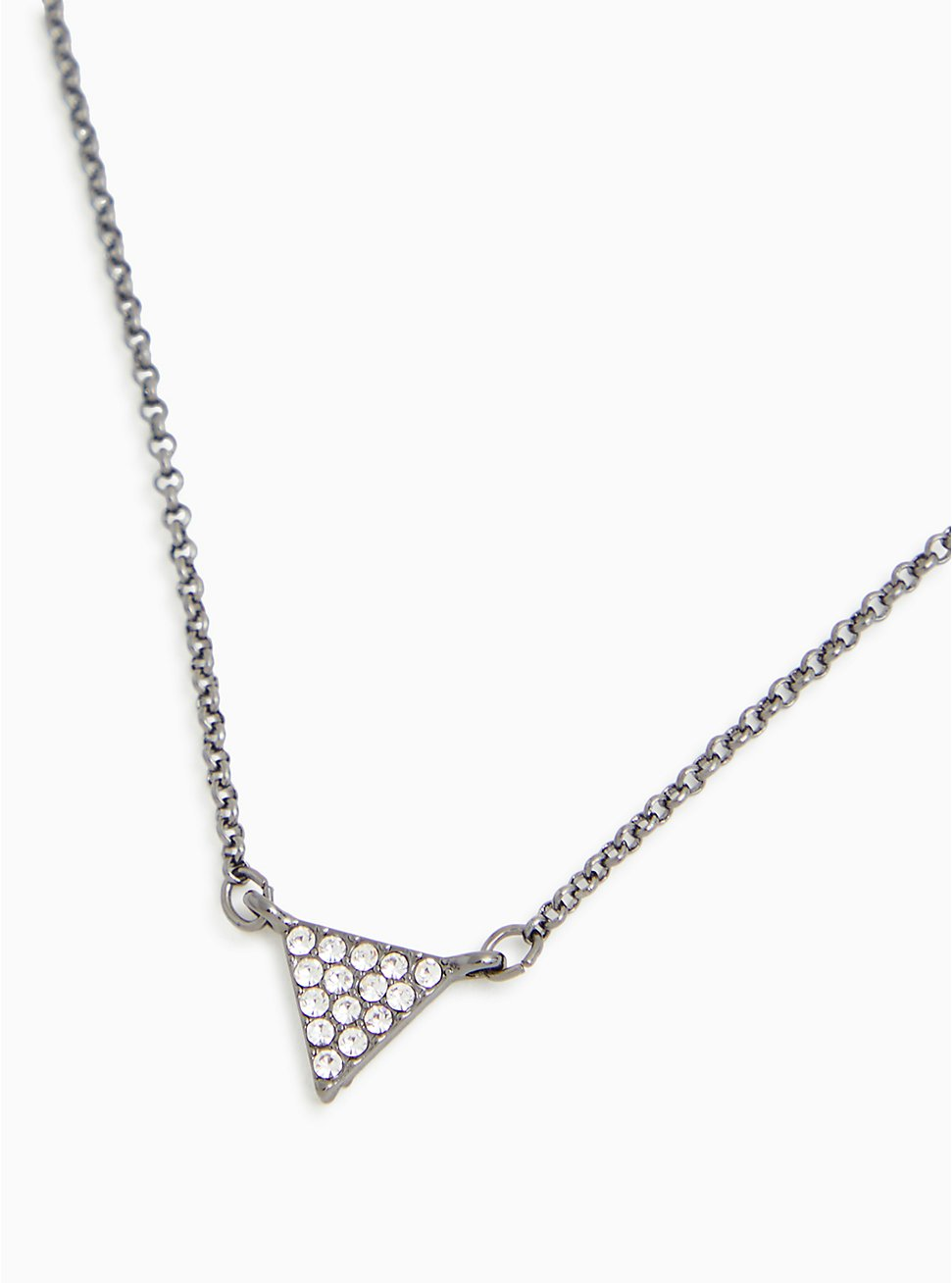 Hematite-Tone Pave Triangle Charm Delicate Necklace, , hi-res