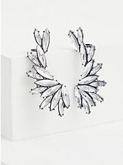 Silver-Tone Rhinestone Crawler Earrings, , alternate