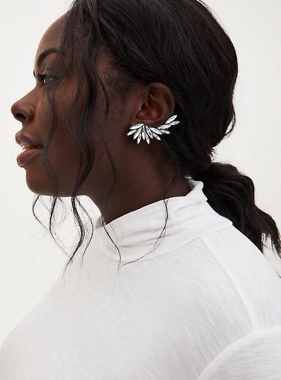 Silver-Tone Rhinestone Crawler Earrings, , hi-res