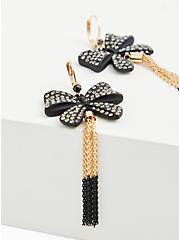 Plus Size Betsey Johnson Black & Gold-Tone Embellished Bow Tassel Earrings, , alternate