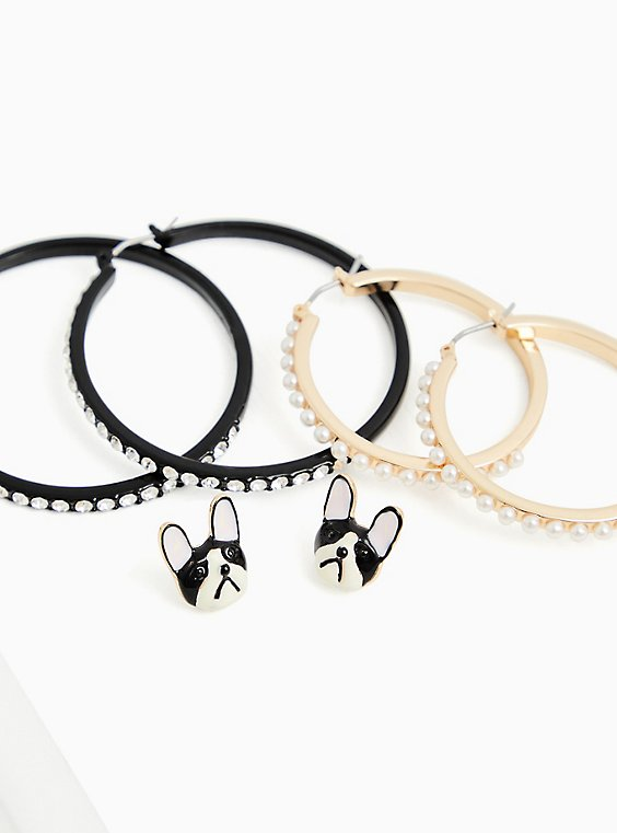 Betsey Johnson Boston Terrier Dog Stud & Hoop Earrings Set - Set of 3, , hi-res