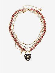 Plus Size Betsey Johnson Plaid Heart Locket Necklace, , alternate