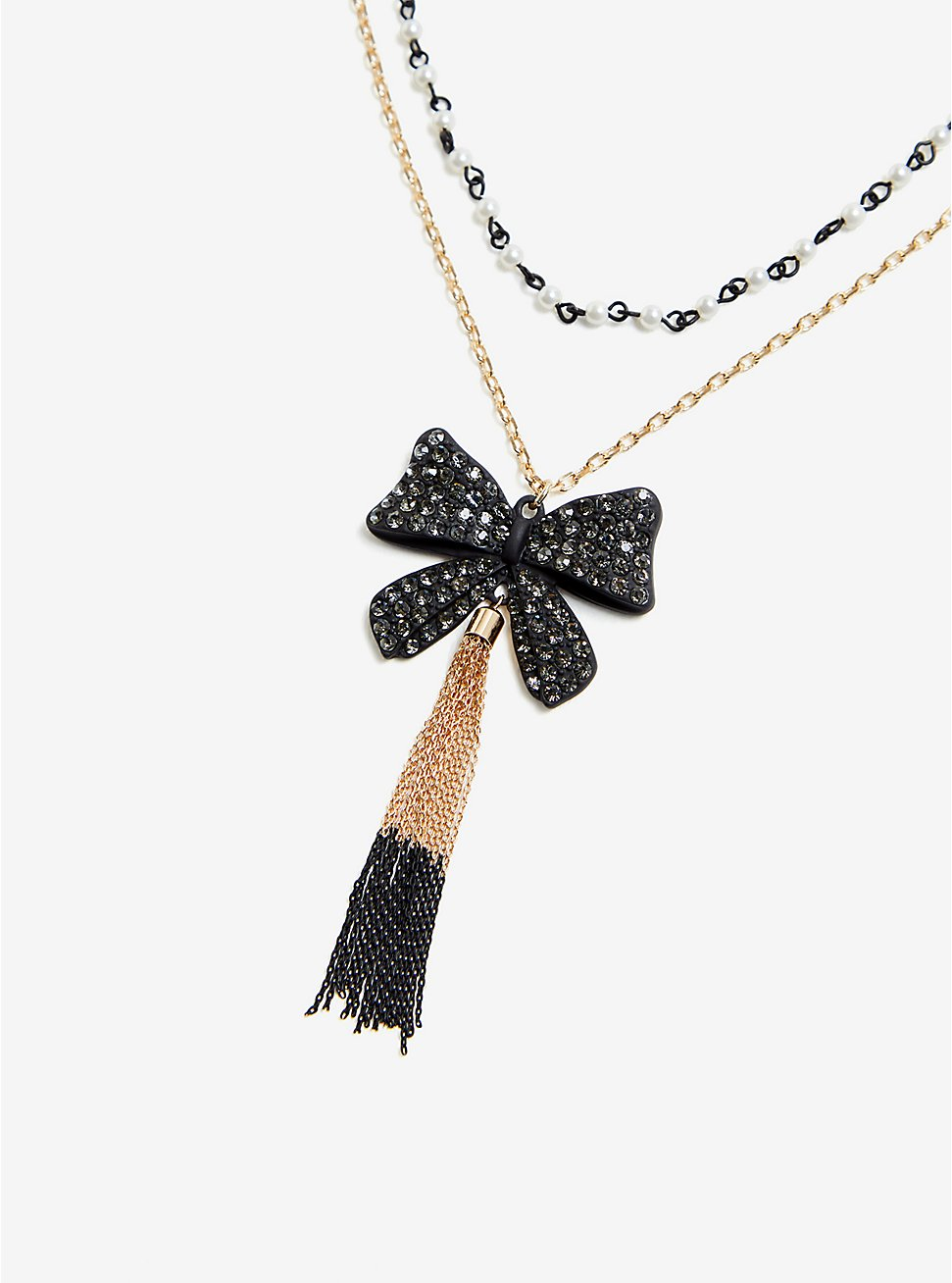 Plus Size Betsey Johnson Bow Tassel Necklace, , hi-res