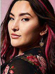 Betsey Johnson Leopard Gold-Tone Embellished Heart Earrings, , alternate