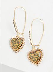 Betsey Johnson Leopard Gold-Tone Embellished Heart Earrings, , hi-res