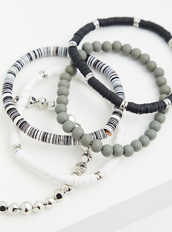 Black & White Beaded Stretch Bracelet Set - Set of 5, MULTI, hi-res