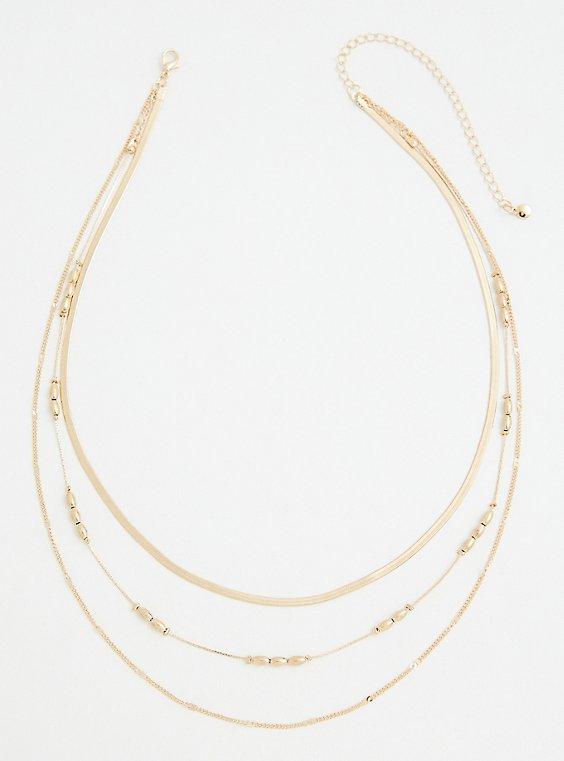 Gold-Tone Snake Chain Layered Necklace, , hi-res