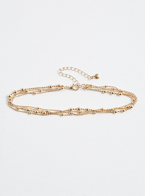Gold-Tone Beaded Anklet, , hi-res