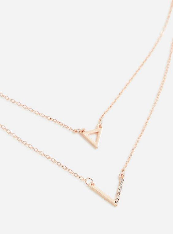 Gold-Tone Delicate Pave Chevron Necklace, , hi-res