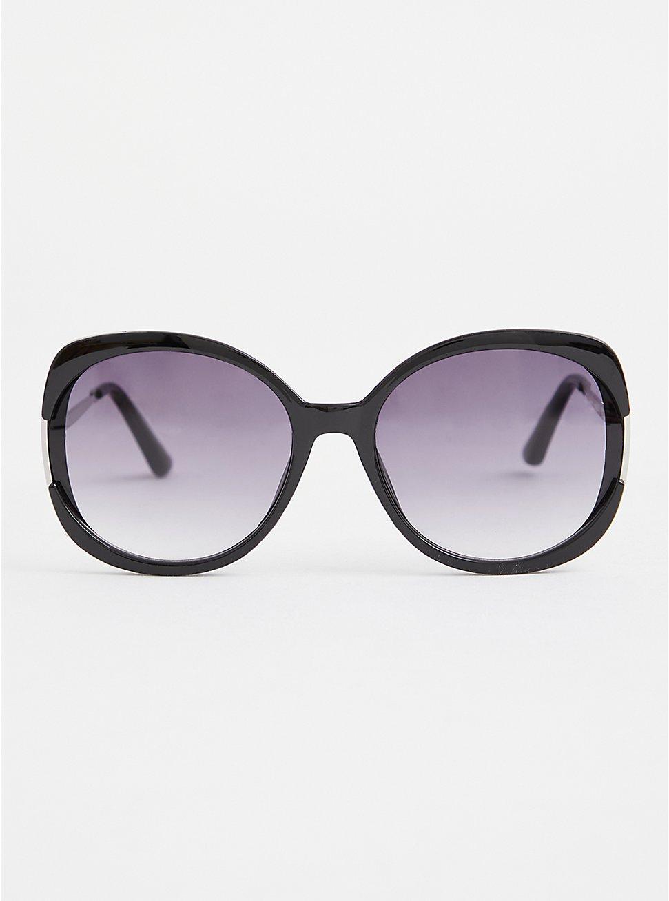 Black Oversized Square Sunglasses, , hi-res