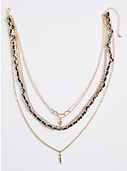 Mixed Metal Skull & Spike Layered Necklace, , alternate