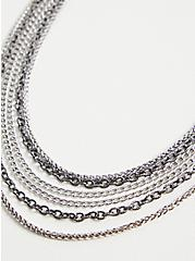 Silver-Tone & Hematite-Tone Link Layered Necklace, , alternate