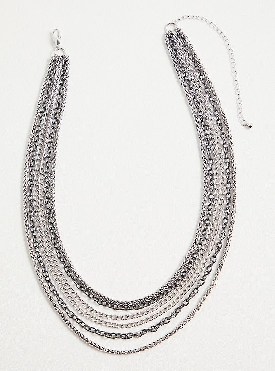 Silver-Tone & Hematite-Tone Link Layered Necklace, , hi-res