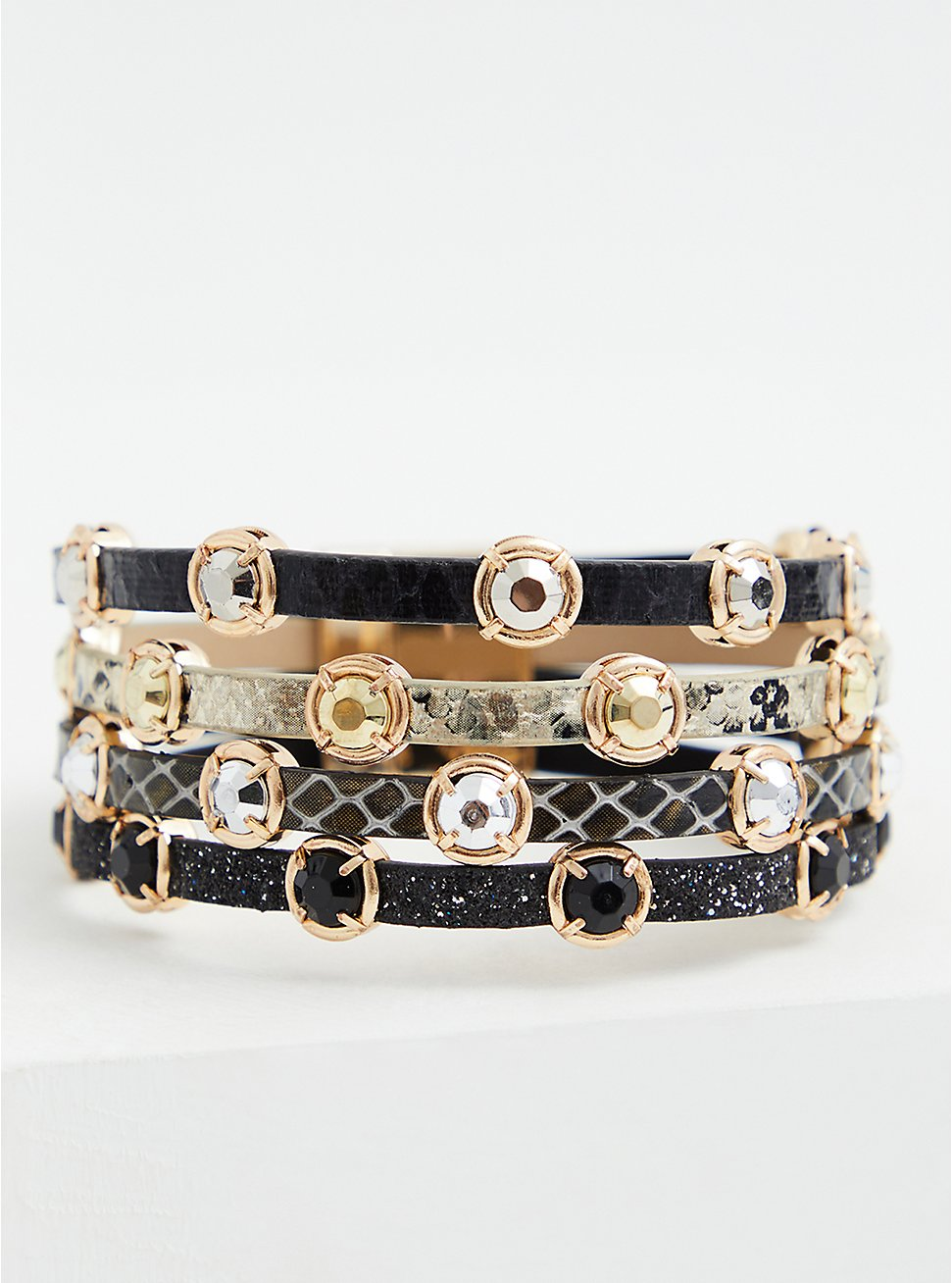 Black & White Stud Magnetic Bracelet, MULTI, hi-res