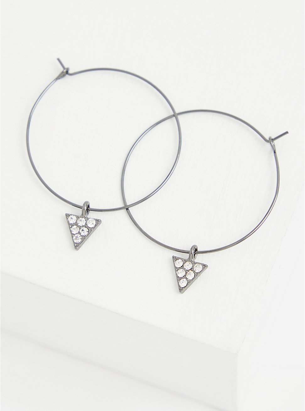 Triangle Faux Stone Hoop Earrings, , hi-res