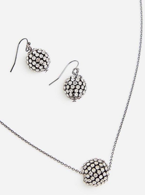 Hematite-Tone Pave Ball Earring & Pendant Set, , hi-res