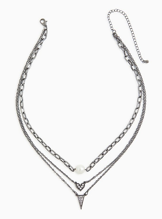 Hematite-Tone Pave Triangle Layered Necklace, , hi-res