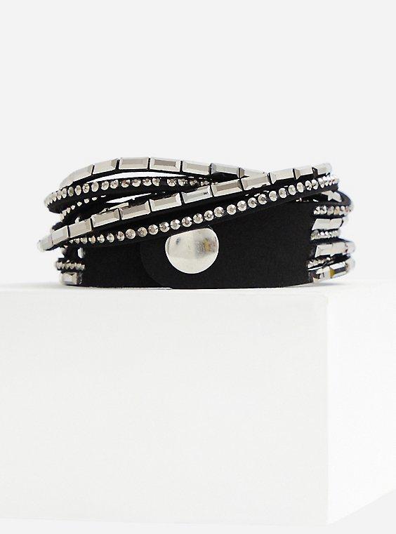 Plus Size Black & Silver Tone Wrap Bracelet, , hi-res