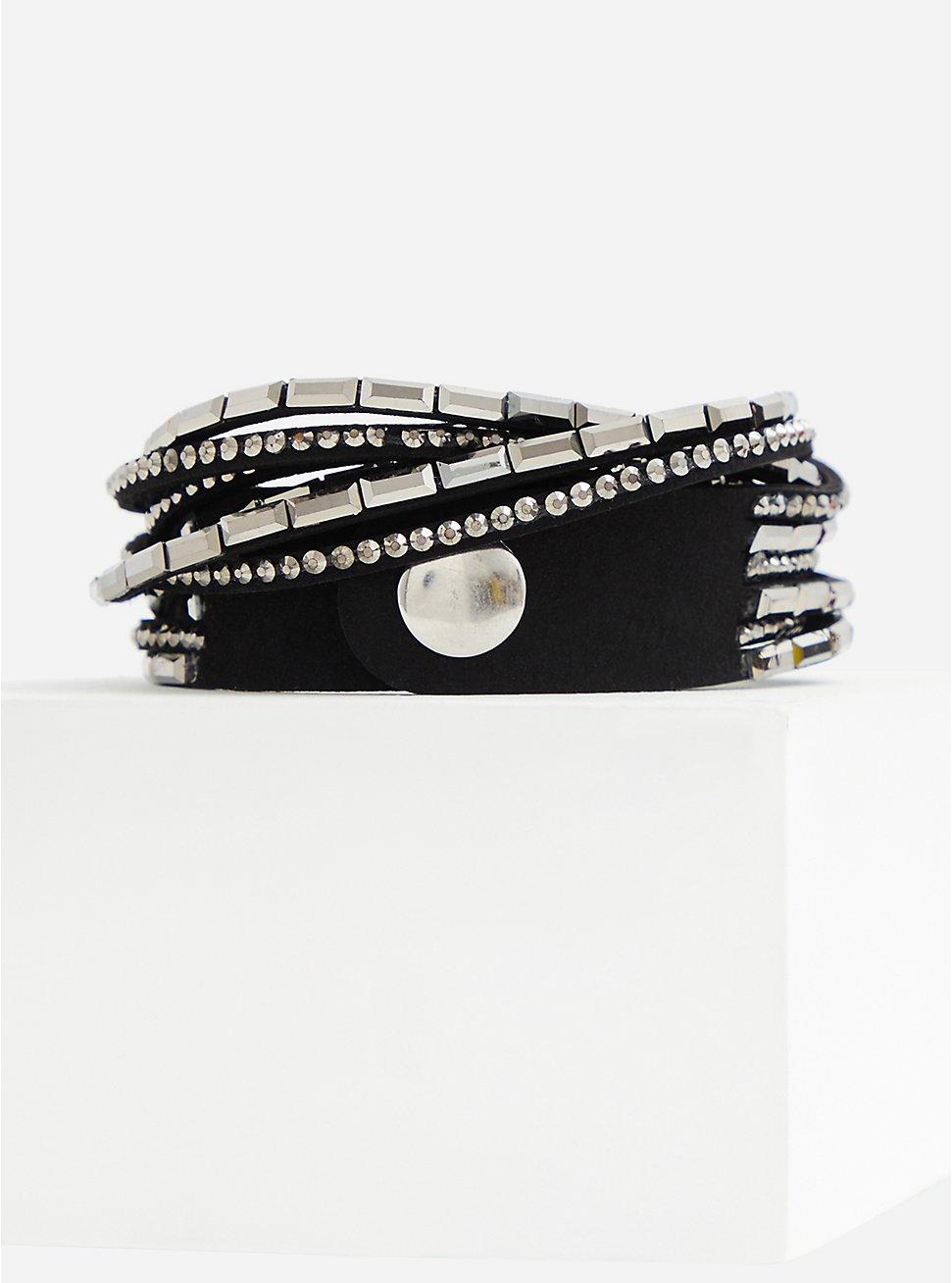 Plus Size Black & Silver Tone Wrap Bracelet, HEMATITE, hi-res