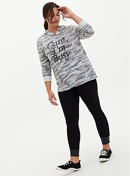 Can't I'm Busy Grey Camo Triblend Hoodie, CAMO, alternate