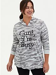 Can't I'm Busy Grey Camo Triblend Hoodie, CAMO, hi-res