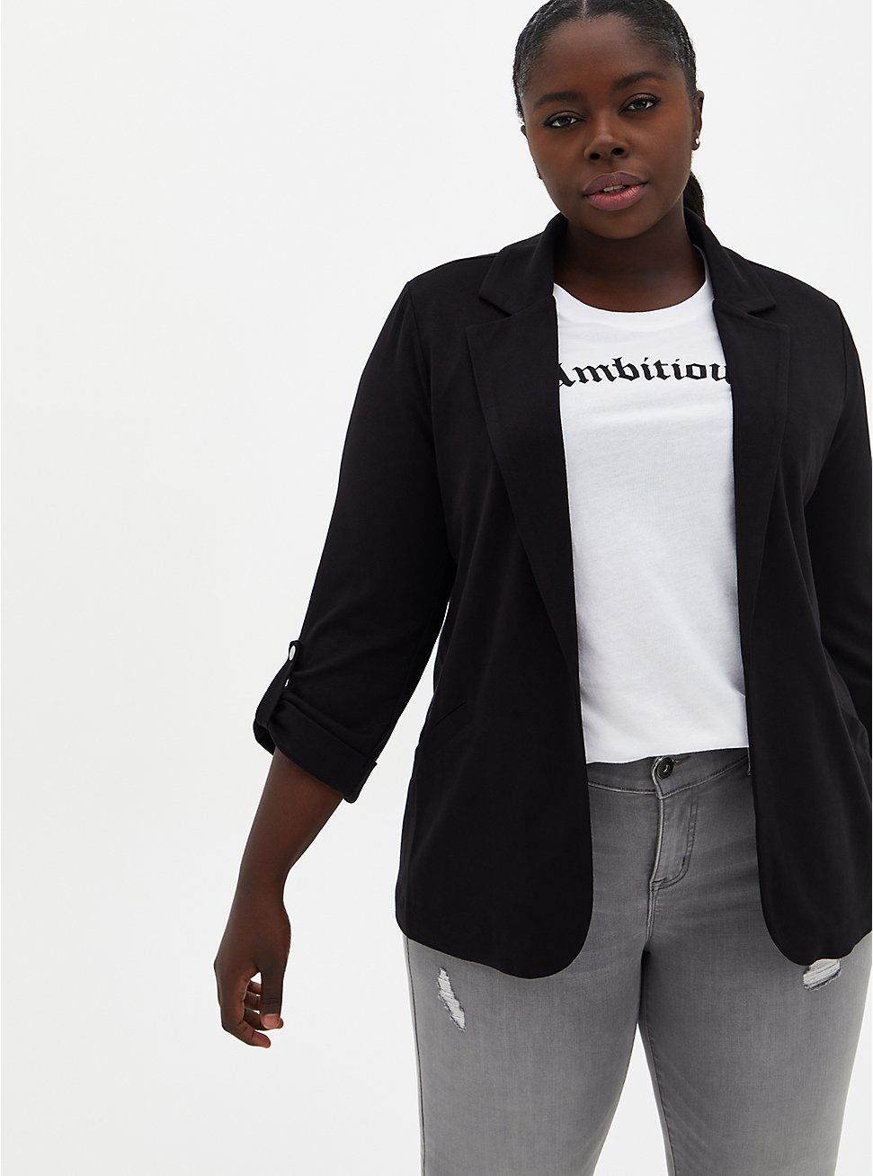 Black Jersey Roll-Sleeve Longline Blazer, DEEP BLACK, hi-res