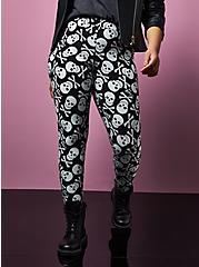 Betsey Johnson Black & White Skull Legging , MULTI, alternate