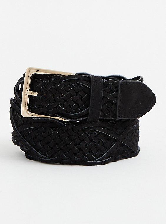 Black Faux Suede Braided Belt , BLACK, hi-res