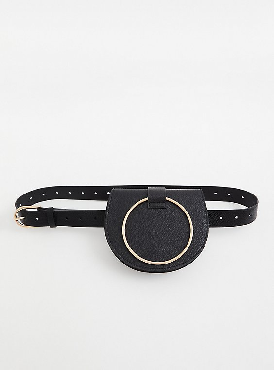 Black O-Ring Faux Leather Belt Bag , , hi-res