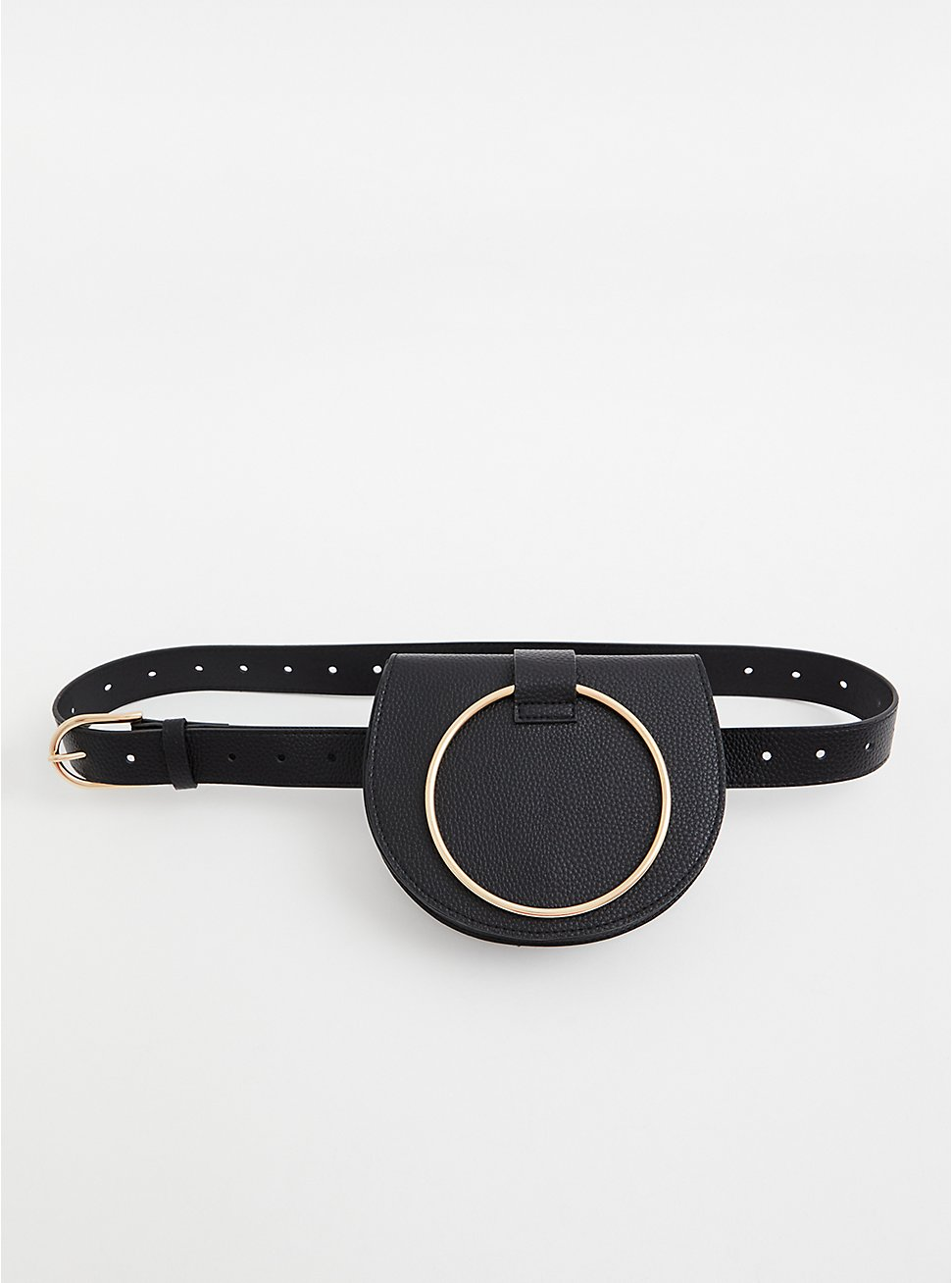 Black O-Ring Faux Leather Belt Bag , BLACK, hi-res