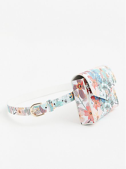 White Floral Belt Bag, MULTI, alternate
