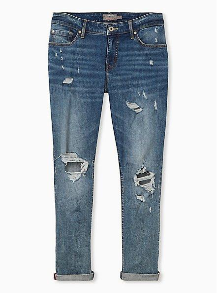 Boyfriend Straight Jean - Vintage Stretch Medium Wash, FIXIN TO THRILL, hi-res