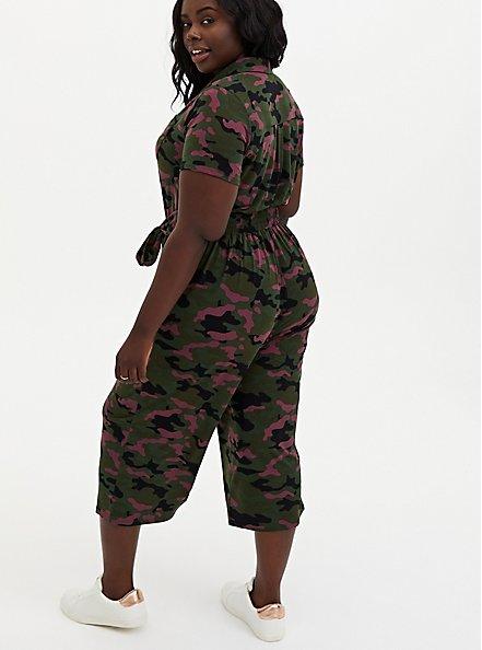 Olive Green Camo Studio Knit Culotte Jumpsuit, CAMO, alternate