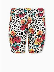 Betsey Johnson White Leopard Floral Bike Short , MULTI, hi-res