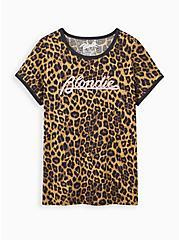 Classic Fit Ringer Tee - Blondie Leopard, LEOPARD - BROWN, hi-res