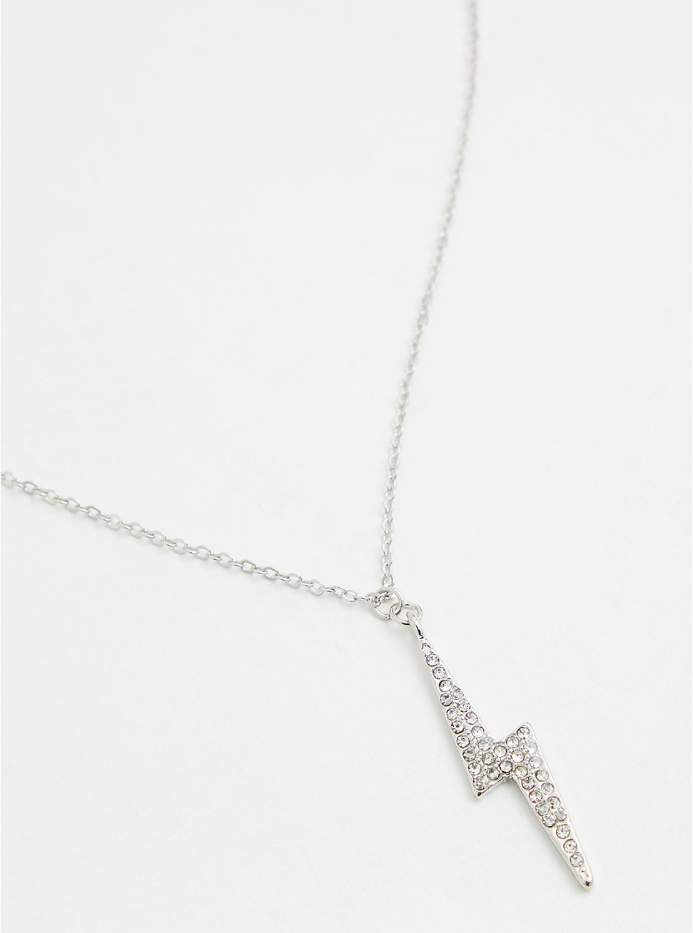 Silver-Tone Pave Lightning Bolt Necklace, , hi-res