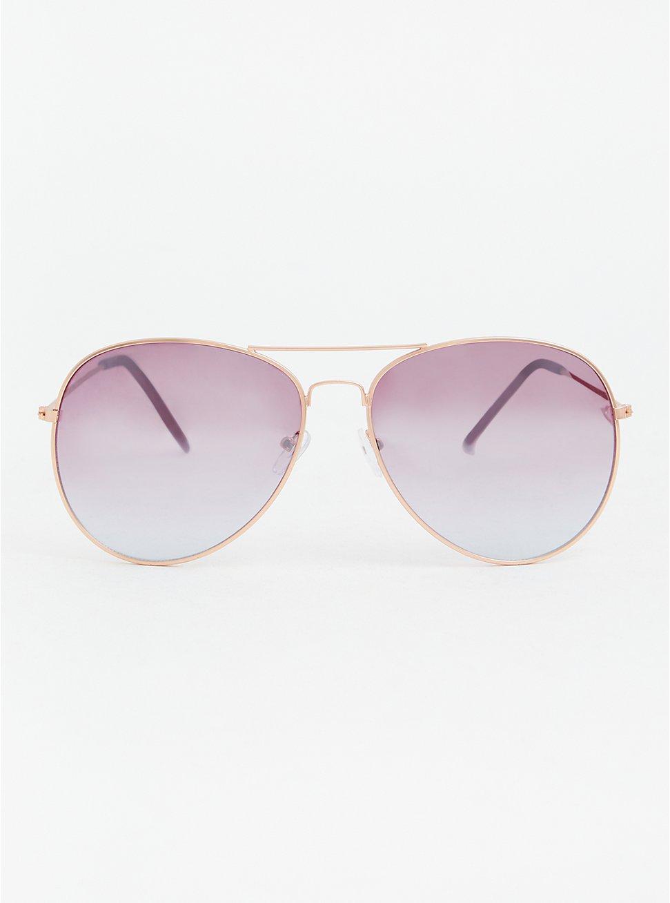 Rose Gold-Tone & Purple-Tinted Aviator Sunglasses, , hi-res