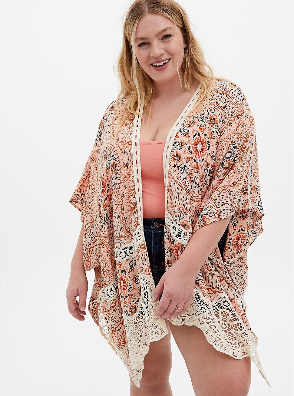 Multi Mixed Print & Crochet Ruana, , hi-res