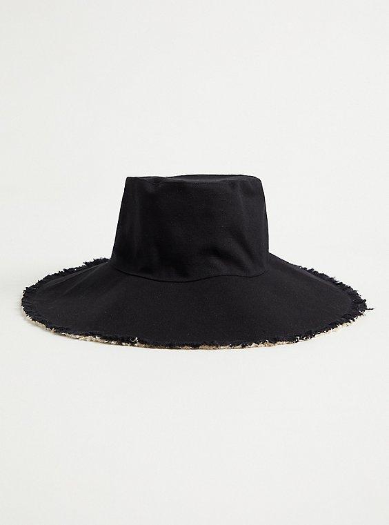 Black & Beige Reversible Bucket Hat, , hi-res