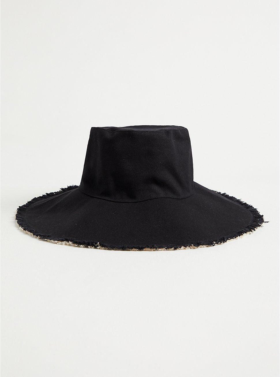 Black & Beige Reversible Bucket Hat, BLACK, hi-res