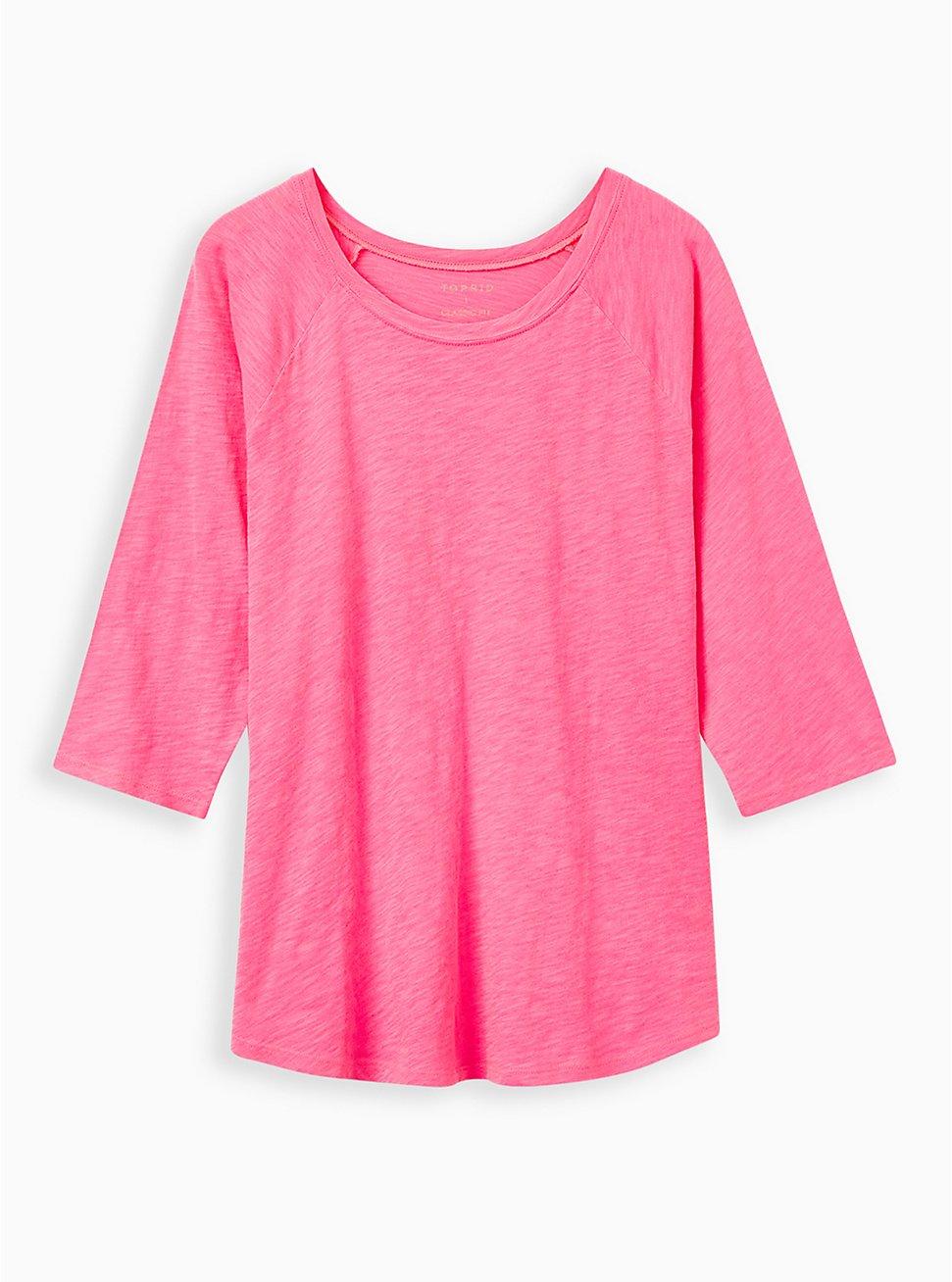 Raglan Tee - Heritage Cotton Neon Pink, PINK GLO, hi-res