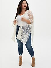 Ivory Feather Embroidered Ruana, , alternate