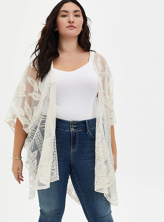Ivory Feather Embroidered Ruana, , hi-res