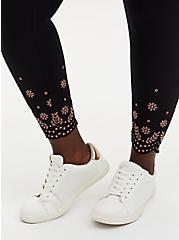 Crop Premium Legging - Scallop Embroidery Black , BLACK, alternate