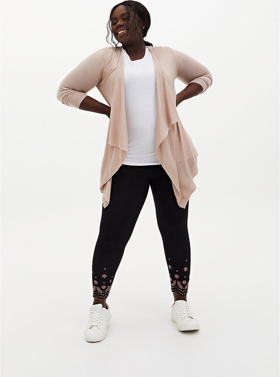 Crop Premium Legging - Scallop Embroidery Black , BLACK, hi-res