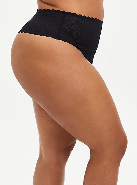 4-Way Stretch Thong Panty - Lace Black, RICH BLACK, alternate