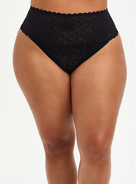 4-Way Stretch Thong Panty - Lace Black, RICH BLACK, hi-res
