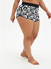 Disney Mickey Mouse Black & White Dolphin Hem Swim Short, BLACK-WHITE, hi-res