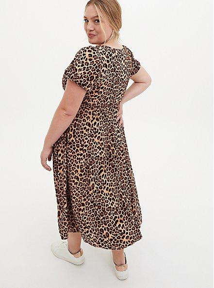Leopard Stretch Challis Skater Midi Dress, LEOPARD, alternate